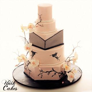 Modern Blush pink and black wedding cake - Cake by Masha Lipkovsky