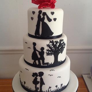 Silohuette wedding cake