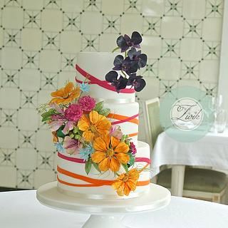 Cosmos and Moth Orchid Wedding Cake