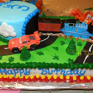 Thomas the Train and Cars the Movie cake