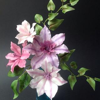 Airbrushed clematis arrangement