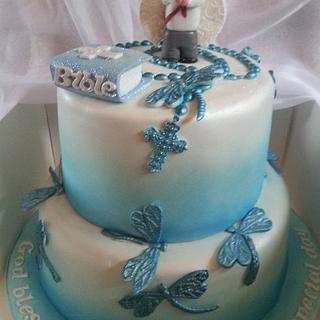 Dragonfly and angel boy communion cake