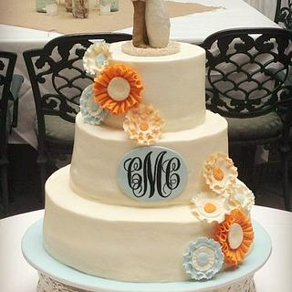 Floral Wedding Cake with Monogram