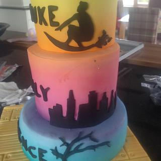 Airbrushed Silhouette Cake