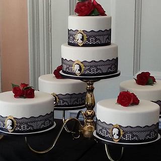 Black, white and red cake for Halla Galla: A Hauntingly Victorian Soiree