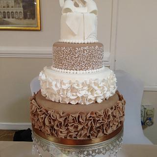 Chocolate Ruffle Wedding Cake - Cake by Su
