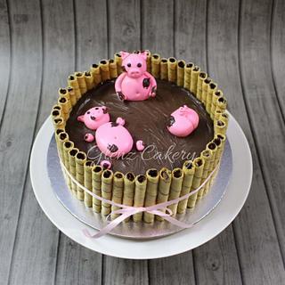 """Pigs in mud"" cake - Cake by Glenyfer Wilson"