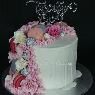 21st Rose and Macaron Drip Cake - Cake by Cakes by Vivienne