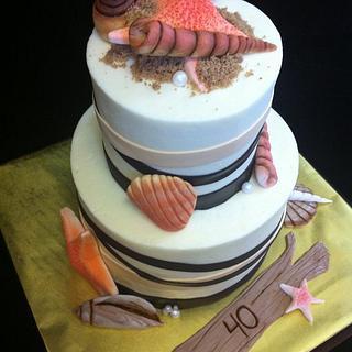40th anniversary beach cake