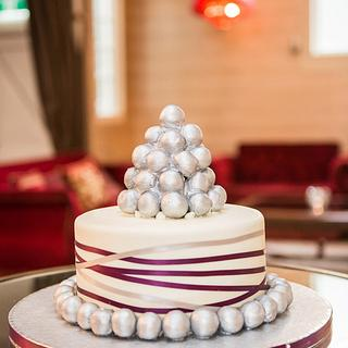 Silver truffle tower wedding cake - Cake by MJ'S Cakes