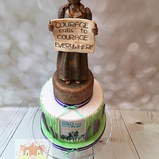Women's movement retirement cake