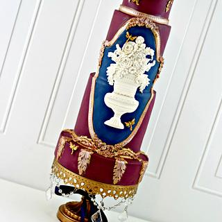 Burgundy, Navy, Gold Bas Relief Wedding Cake - Cake by PrimaCristina