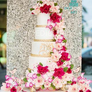 """Majestic Blooms"" -5 tier Wedding Cake"