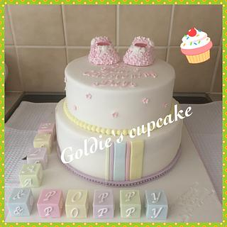 Double christening cake