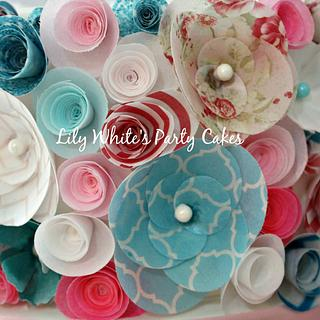 Close up of wafer flowers! - Cake by Lily White's Party Cakes