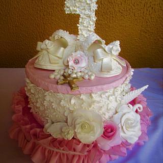 Rođendanska torta za 1. rođendan  za devojčice - Cake by Danijella Veljkovic