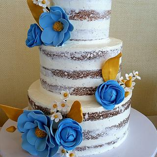 Rustic Cake with Blue and Gold Flowers