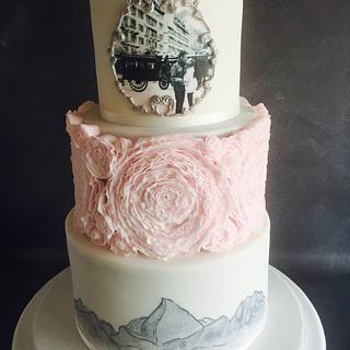 Zermatt Pink Ruffle Wedding Cake