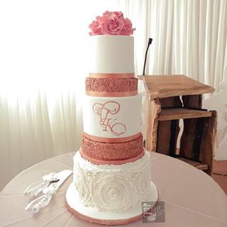 Rose gold wedding cake.