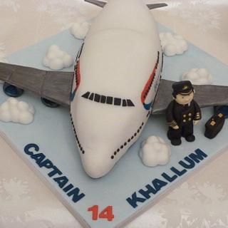 aeroplane & pilot cake