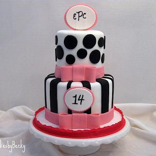 Black, White & Pink Birthday - Cake by Becky Pendergraft