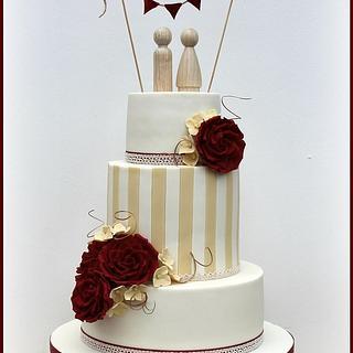 Vintage, Roses, Stripe & Bunting Wedding Cake - Cake by Fancie Buns
