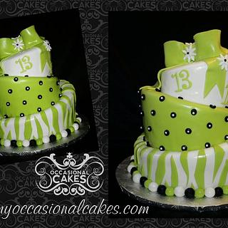 Electric Green Topsy-Turvy bday