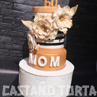 Flowers stripped gold birthday cake