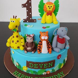3D animals theme 2 layer customized fondant cake
