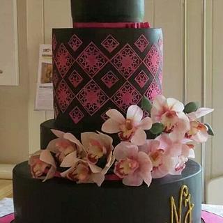 Modern black wedding cake