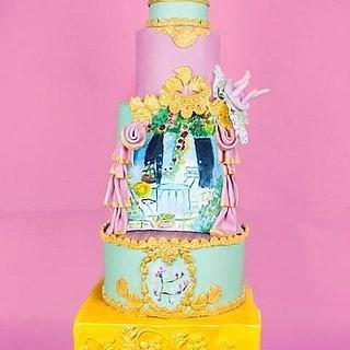Shabby vintage modern wedding cake