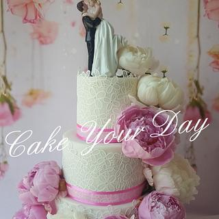 Peony waterfall wedding cake.