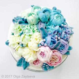 Pastel Ombre Butterceram Flower Bouquet cake - Cake by Olga Zaytseva