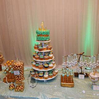 Mint and gold sweet table