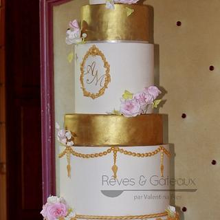 Golden wedding cake at Aix Les Bains Casino