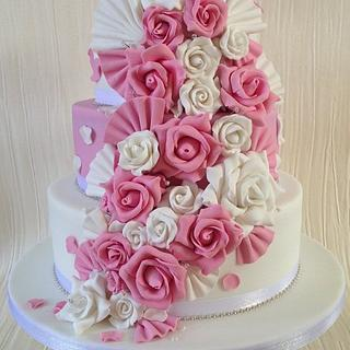 Pink & White floral cascade