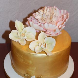 Peony & orchydea cake