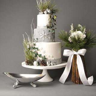 Winter Silver Wedding, featured in Cake Central Magazine