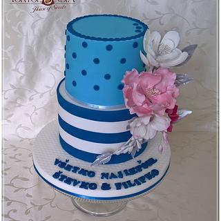 Elegant cake with stripes
