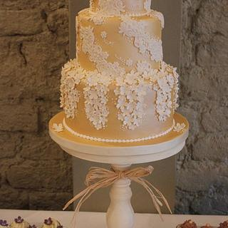 Rustic Gold Wedding Cake - Cake by Cat Lawlor