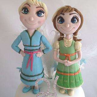 Frozen cake, Anna and Elsa as Children with Olaf x