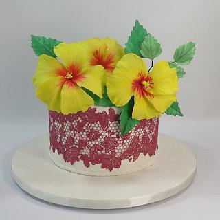 yellow hibiscus & red lace cake MBalaska 8-9-2018 - Cake by MBalaska