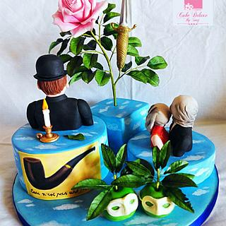 Primavera con arte: René Magritte with sugar paste and flowers paste