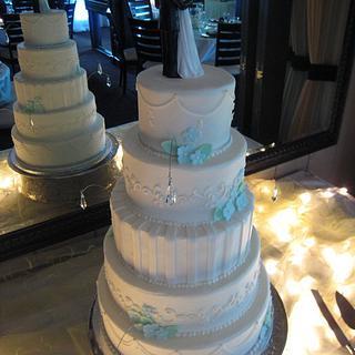 Sparkly Light Blue Wedding Cake