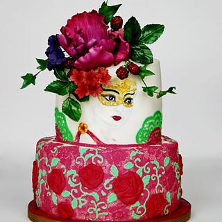 Blooming woman hand painted cake - Cake by Art Cakes Prague