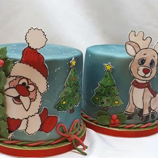 Sweet set of Santa Claus and Rudolf