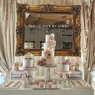 Vintage taupe, blush and nude wedding dessert table - Cake by Delicious By Linzi