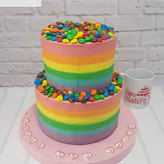 Colorful striped buttercream and m&m's cake  - Cake by Simo Bakery