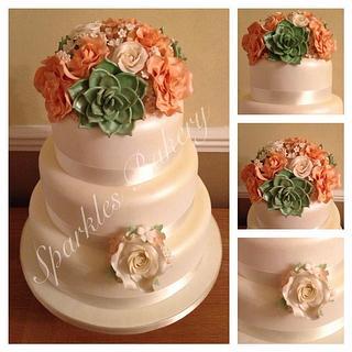 Succulent & Roses Wedding Cake