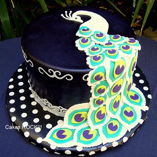 Black & White Graphic Peacock - Cake by Cakes ROCK!!!